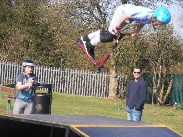 A member of the Skatehut team doing a very impressive manoeuvre