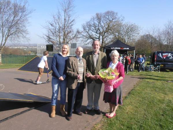 Parish Chairman Ivan Hodgetts,County Councillor Ed Moore along with former Clerk Pat Taylor and current Clerk Ruth Mullett