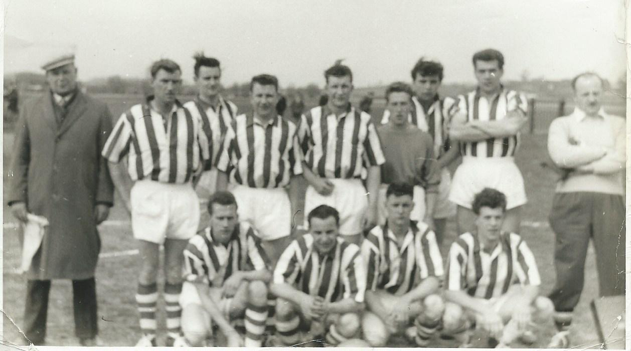 The Romsley Football team that went to Obigies in Belgium to play that village team, wearing the Blue and White stripes strip lent to them by West Bromwich Albion FC in 1960 Submitted by John Lowe
