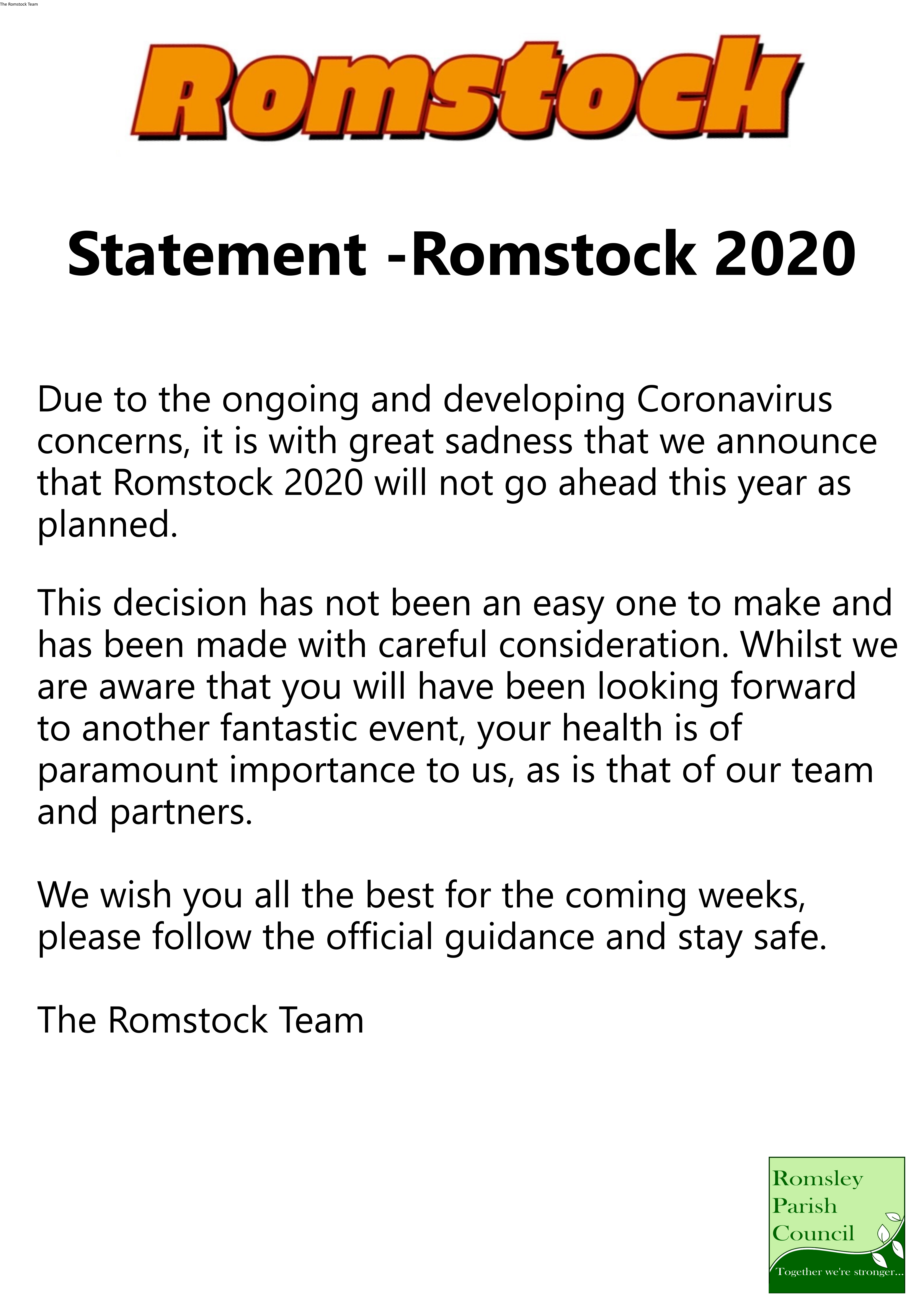 2020 Romstock COVID Announcement